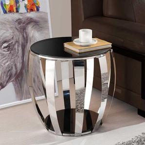 Sofa Beistelltisch in Silberfarben und Schwarz Trommelform