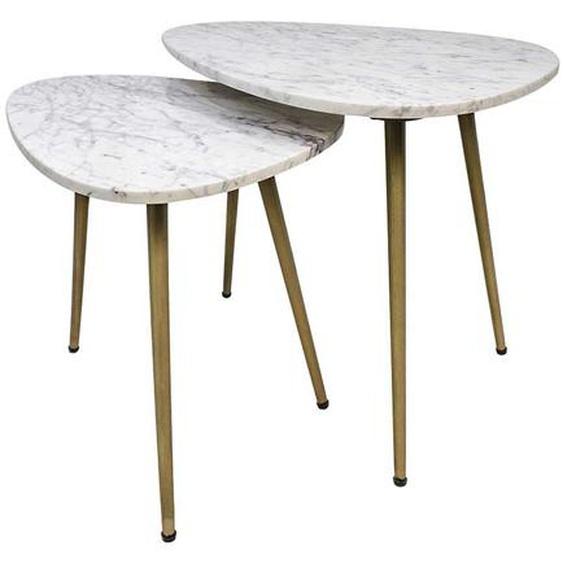 Sofa Beistelltische im Retrostil Marmor Tischplatte (2-teilig)