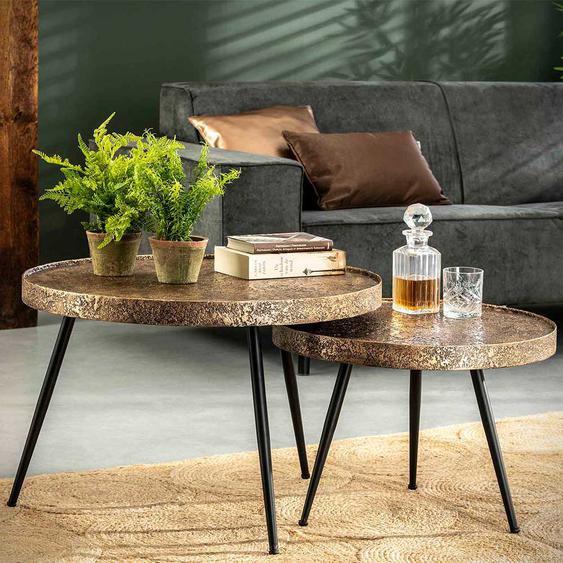 Sofa Beistelltische in Bronzefarben rund (2-teilig)