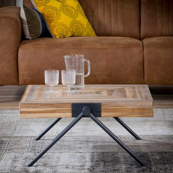 Sofa Beitisch aus Teak Massivholz und Stahl Antik Finish