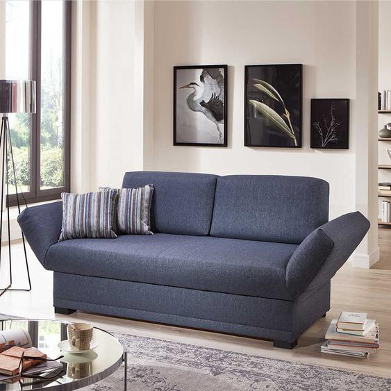 Sofa Bett in Blau Webstoff Made in Germany