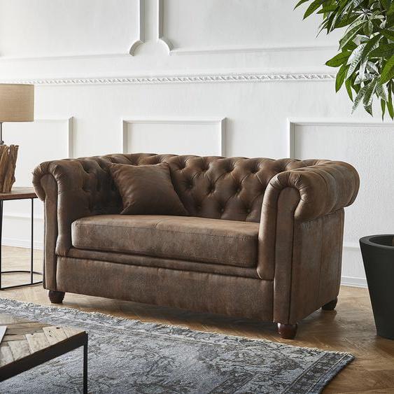 Sofa Chesterfield 2-Sitzer 140x88 cm Vintage Braun Abgesteppt Couch, 2 Sitzer