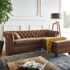 Sofa Chesterfield 200x88 cm Braun Abgesteppt Ottomane Rechts, Chesterfields