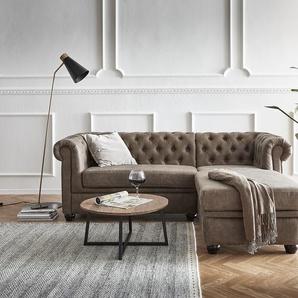Sofa Chesterfield 200x88 cm Taupe Abgesteppt Ottomane Rechts, Ecksofas