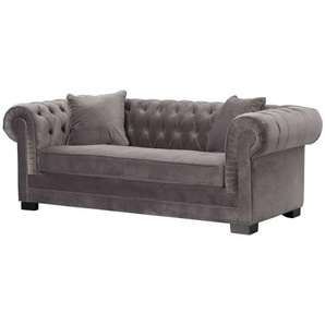 Sofa Chesterfield Classic Velvet Dark Grey 3-Sitzer