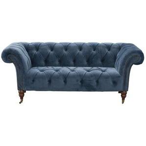 Sofa Chesterfield Glamour Velvet Midnight 2-Sitzer