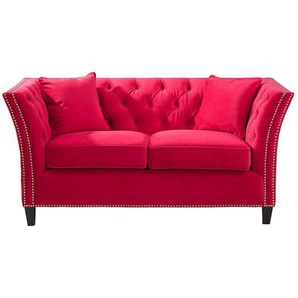Sofa Chesterfield Modern Velvet Raspberry Red 2-Sitzer