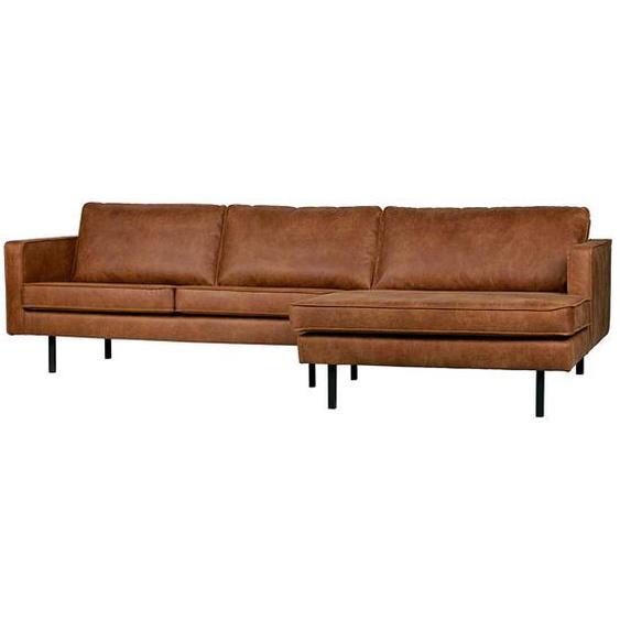Sofa Eckgarnitur in Cognac Braun Recyclingleder 300 cm breit