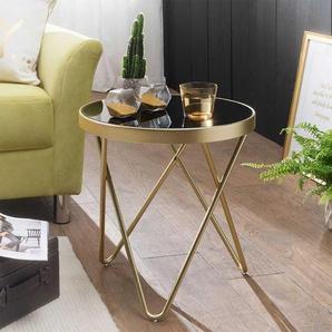 Sofa Glastisch in Schwarz und Goldfarben rund