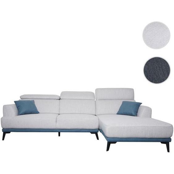 Sofa HWC-G44, Couch Ecksofa L-Form 3-Sitzer, Liegefl�che Nosagfederung Taschenfederkern verstellbar ~ rechts, hellgrau
