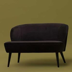 Sofa in Anthrazit und Schwarz Birke Massivholz und Samt