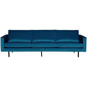 Sofa in Blau Samt Retro Style