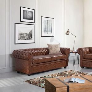Sofa Kunstleder Old Style Braun CHESTERFIELD