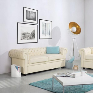 Sofa Leder beige CHESTERFIELD