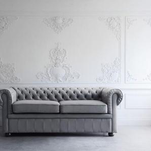 Sofa Leder grau CHESTERFIELD
