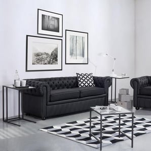 Sofa Leder schwarz CHESTERFIELD