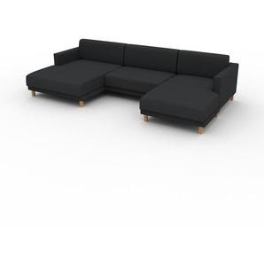 Sofa Nachtschwarz - Moderne Designer-Couch: Hochwertige Qualität, einzigartiges Design - 304 x 75 x 162 cm, Komplett anpassbar