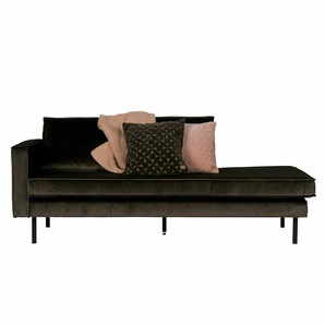 Sofa Recamiere in Dunkelgr�n Samt Stoff