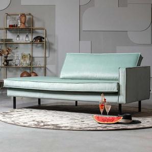 Sofa Recamiere in Mintgrün samtigem Bezug