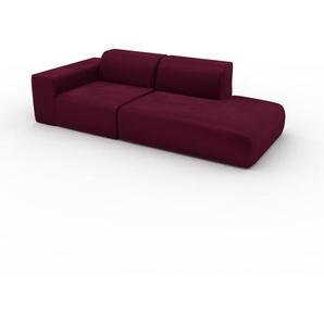 Sofa Brombeerrot - Moderne Designer-Couch: Hochwertige Qualität, einzigartiges Design - 243 x 72 x 107 cm, Komplett anpassbar