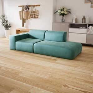 Sofa Eisblau - Moderne Designer-Couch: Hochwertige Qualität, einzigartiges Design - 243 x 72 x 107 cm, Komplett anpassbar