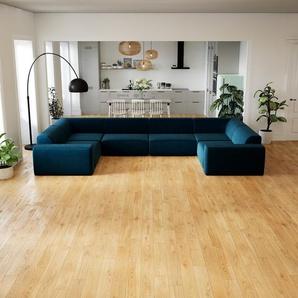 Sofa Nachtblau - Moderne Designer-Couch: Hochwertige Qualität, einzigartiges Design - 412 x 72 x 239 cm, Komplett anpassbar