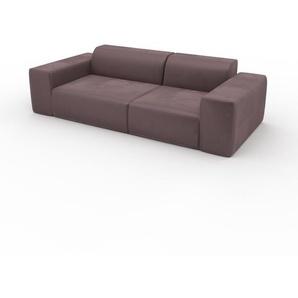 Sofa Samt Puderrosa - Moderne Designer-Couch: Hochwertige Qualität, einzigartiges Design - 241 x 72 x 107 cm, Komplett anpassbar
