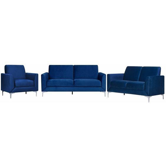 Sofa Set Dunkelblau Samtstoff Sitzgruppe Minimalistisch Modern Wohnzimmer