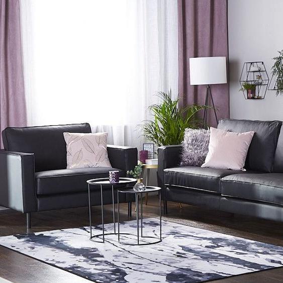 Sofa Set Leder schwarz 4-Sitzer SAVALEN