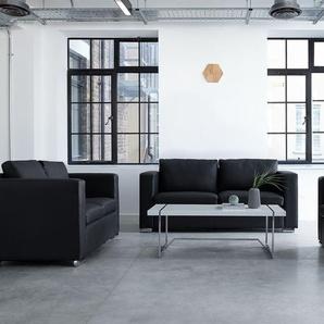 Sofa Set Leder schwarz 6-Sitzer HELSINKI