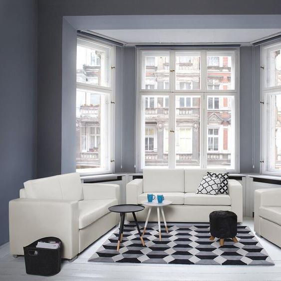 Sofa Set Leder weiß 6-Sitzer HELSINKI