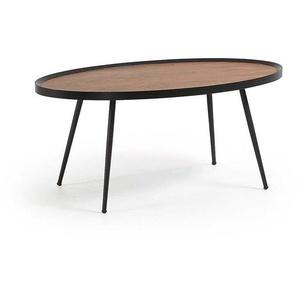 Sofa Tisch in Walnussfarben und Schwarz rund