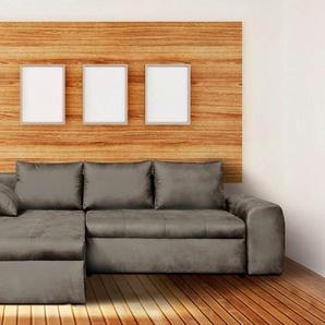 Sofa, Wohnlandschaft, Mikrofaser hellgrau, 3 Rückenkissen, 1 Seitenkissen, Schlaffunktion,  Bettkasten, Schenkelmaß: ca. 260 x 184 cm