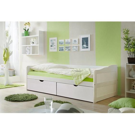 Sofabett Melanie 90x200 Kiefer massiv weiß inkl. 2 Schubkästen