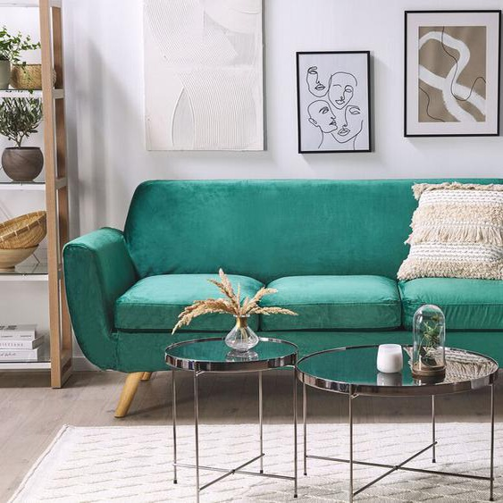 Sofabezug für 3-Sitzer BERNES Samtstoff grün