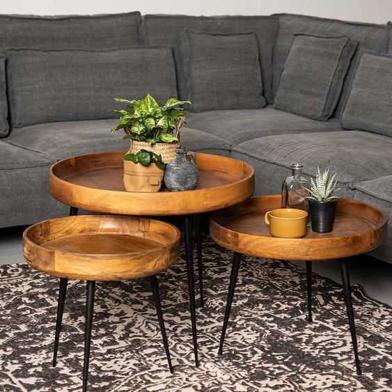 Sofatisch Set aus Mangobaum Massivholz und Eisen rund (3-teilig)