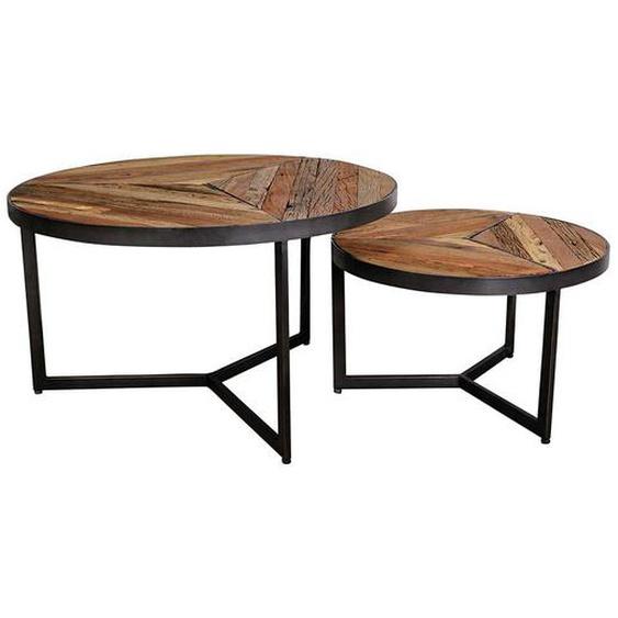 Sofatisch Set aus Recyclingholz und Eisen rund (2-teilig)