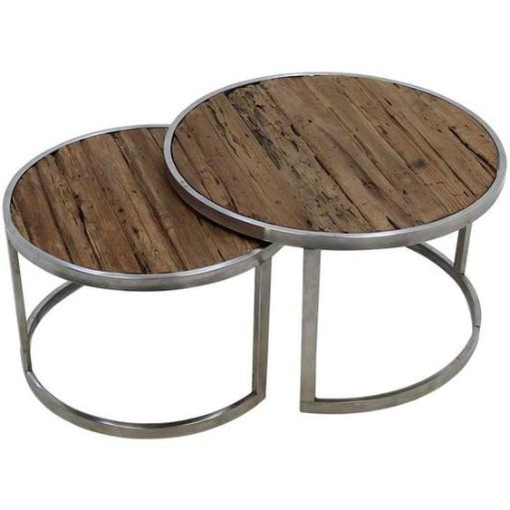 Sofatisch Set aus Teak Recyclingholz Metall in Silberfarben (2-teilig)