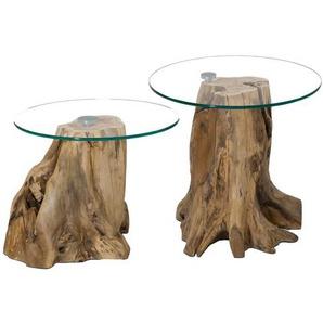 Sofatisch Set mit runden Glasplatten Baumstumpf (2-teilig)