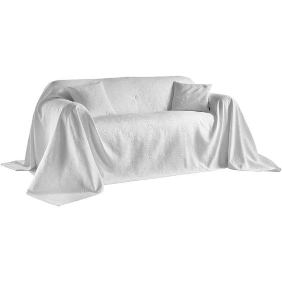 Sofaüberwurf in Hoch-/Tiefstruktur 2, ca. 250/270 cm weiß Sofaüberwürfe Hussen Überwürfe