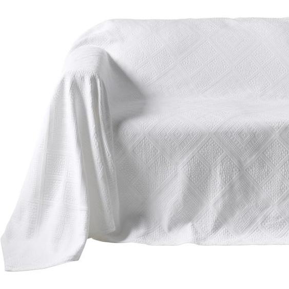 Sofaüberwurf mit Hoch-/Tief-Struktur 4, ca. 250/370 cm weiß Sesselhussen Hussen Überwürfe