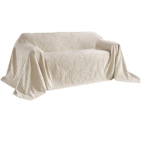 Sofaüberwurf mit schönem Blätterdessin 3, ca. 250/330 cm grau Sofaüberwürfe Hussen Überwürfe