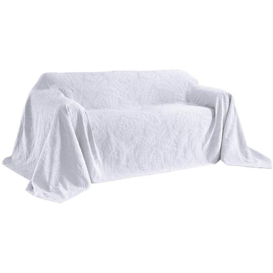 Sofaüberwurf mit schönem Blätterdessin 4, ca. 250/370 cm weiß Sofaüberwürfe Hussen Überwürfe