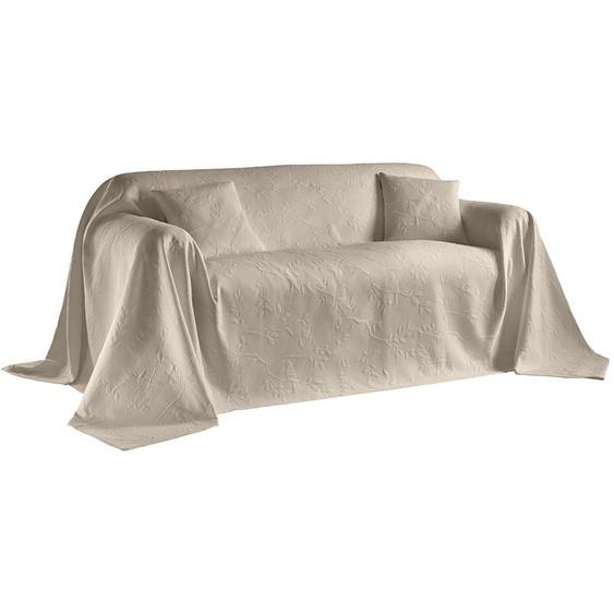 Sofaüberwurf mit Vögel- und Blättermotiv 1, ca. 160/270 cm beige Sofaüberwürfe Hussen Überwürfe