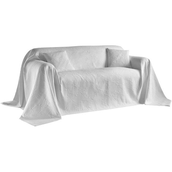 Sofaüberwurf mit Vögel- und Blättermotiv 2, ca. 250/270 cm weiß Sofaüberwürfe Hussen Überwürfe