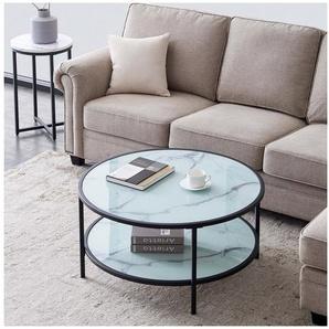 SOFTWEARY Couchtisch »Tischplatte aus Temperglas«, in Marmoroptik, Sofatisch mit Ablageboden, Beistelltisch, Kaffeetisch, rund, Ø85 cm