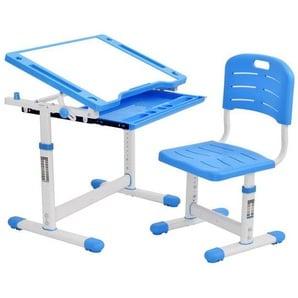 SOFTWEARY Kinderschreibtisch, Schreibtisch mit Stuhl und Schublade, ergenomisches Design, neigbare Tischplatte, höhenverstellbar