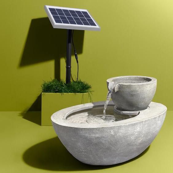 Solar-Gartenbrunnen - grau -