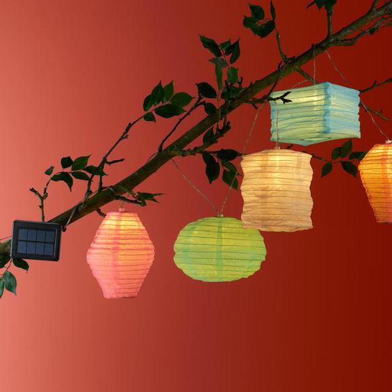 Solar-Lichterkette »Lampions« - hellblau - Edelstahl -