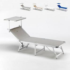 Sonnenliege aus Aluminium klappbar mit Sonnenschutz für Strand Meer GABICCE | Grau - BEACH AND GARDEN DESIGN